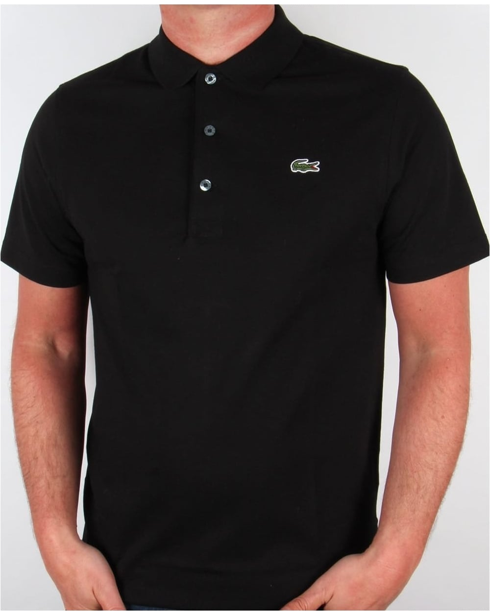 Lacoste ultra lightweight knit polo shirt black 80s casual classics - Lacoste poloshirt weiay ...