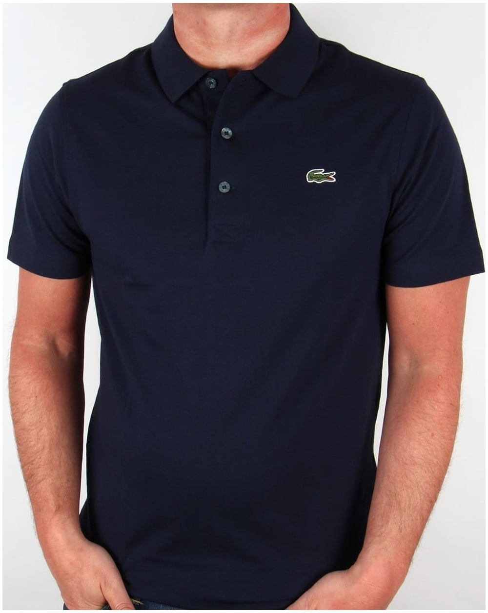 Lacoste polo shirt navy short sleeve old skool retro for Discount lacoste mens polo shirts