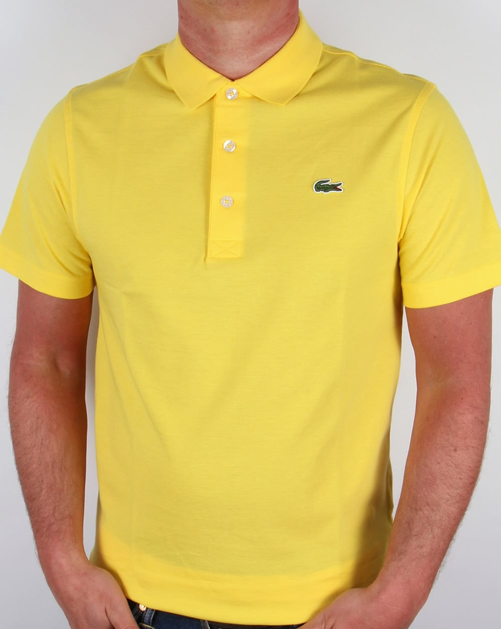 Lacoste polo shirt yellow short sleeve retro old skool - Lacoste poloshirt weiay ...