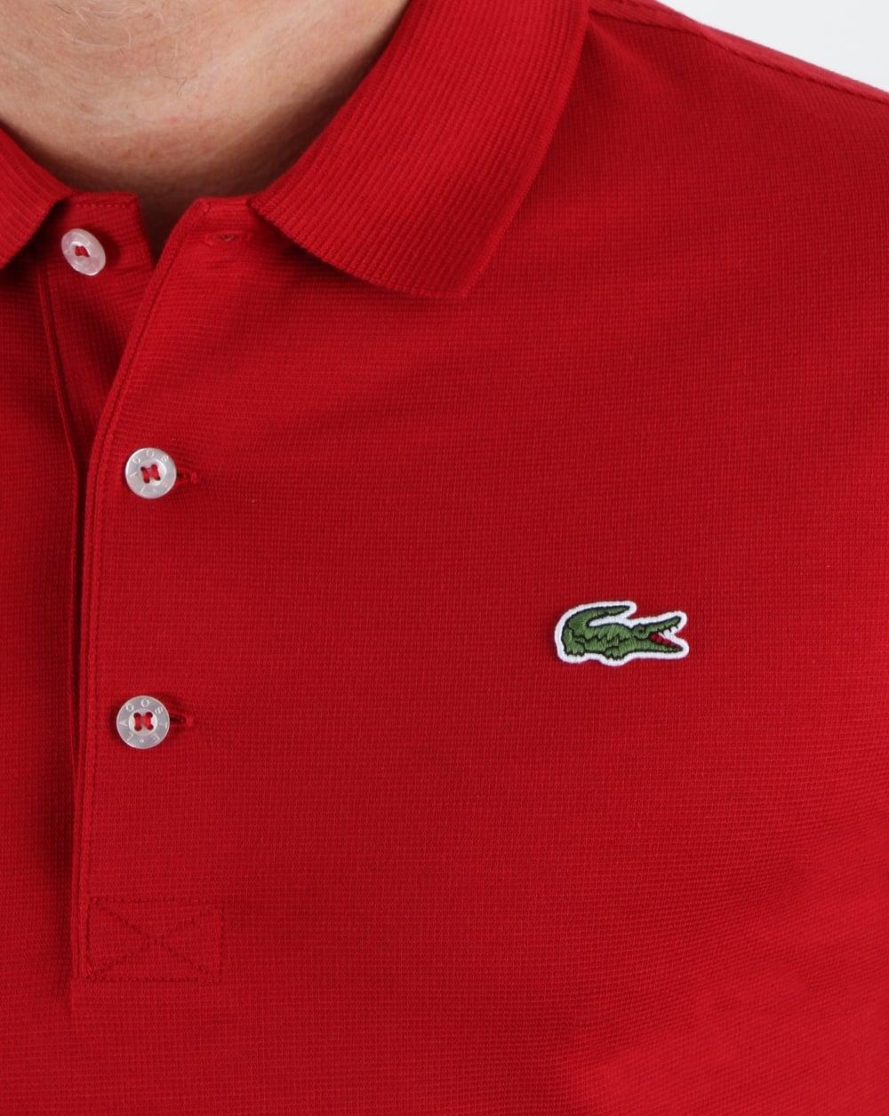Lacoste Ultra Lightweight Knit Polo Shirt Ladybirdredmencottontop