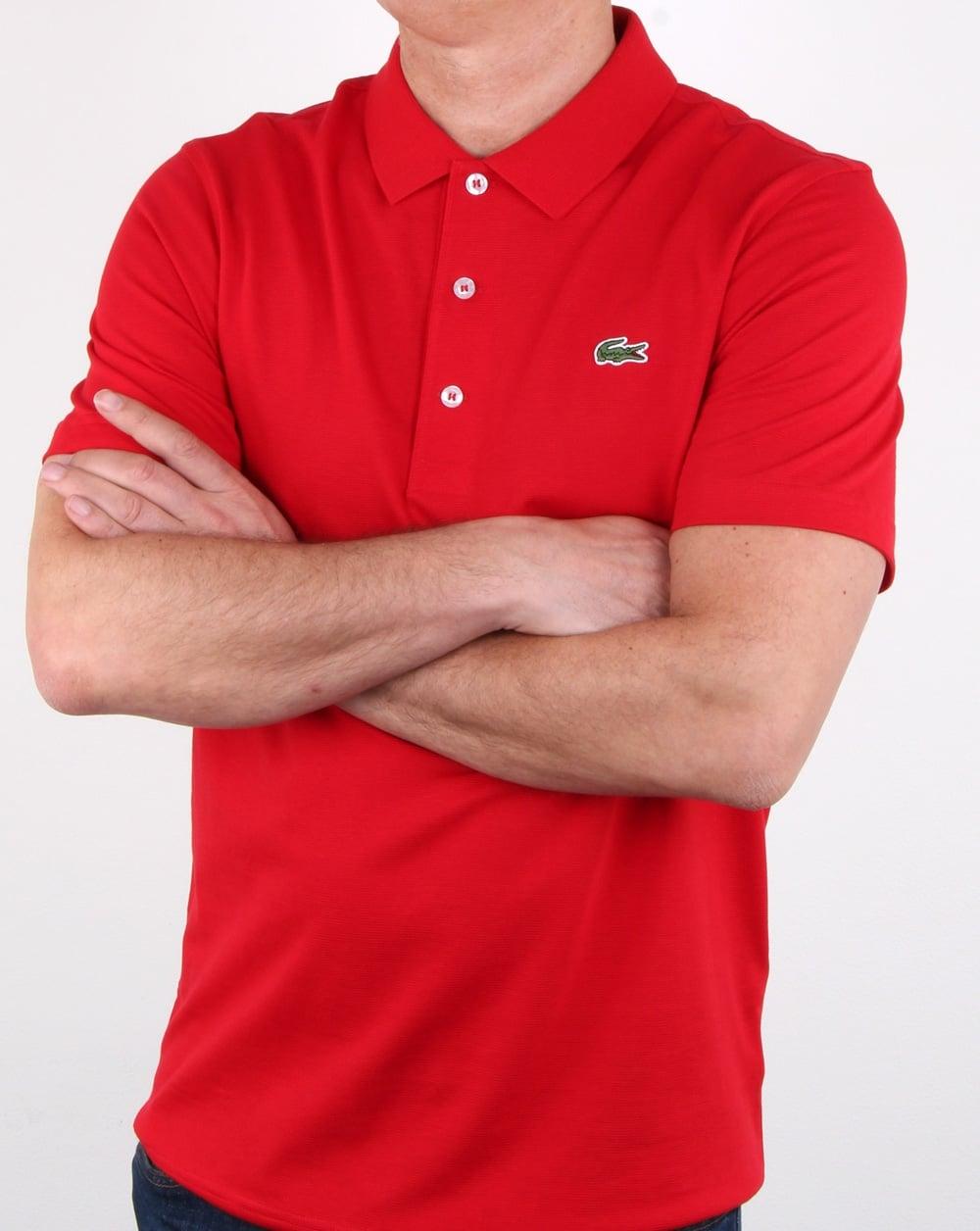Lacoste Polo Shirt Red Mens Polo Sport Croc Gym Fashion
