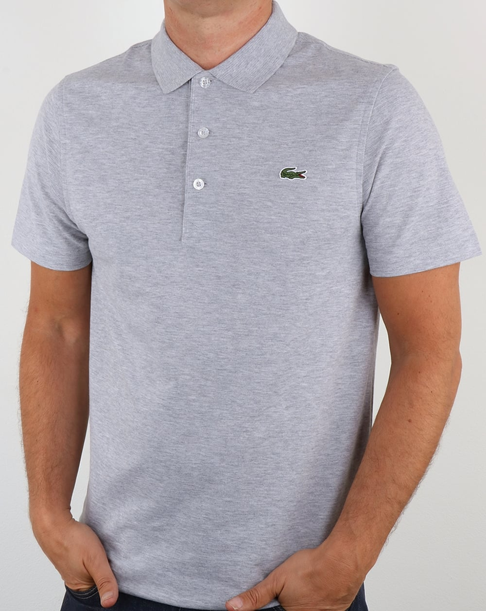 Lacoste ultra lightweight knit polo shirt silver chine men 39 s for Order company polo shirts