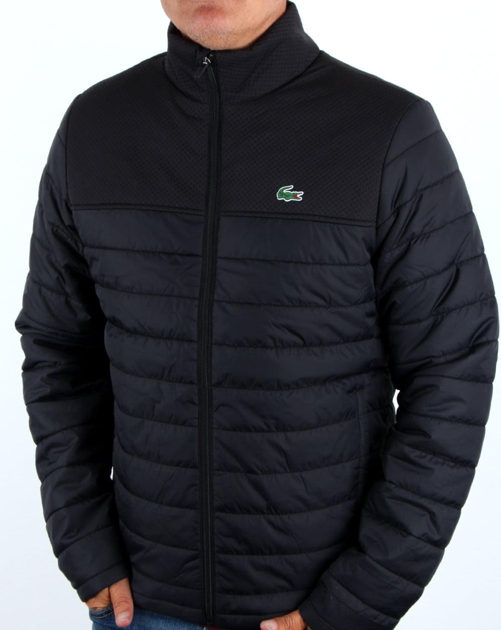 lacoste puffer jacket black men 39 s coat padded quilted. Black Bedroom Furniture Sets. Home Design Ideas