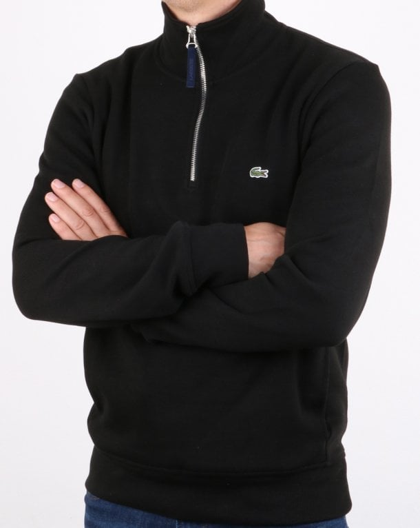 a92c8fda3 Lacoste Flat Ribbed Zippered Sweatshirt Black Navy