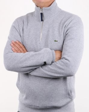 Lacoste Quarter Zip Sweatshirt Silver Chine/navy