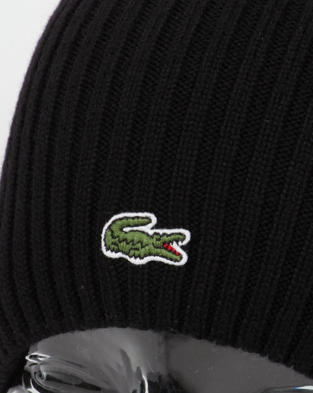 6afd45f35 Lacoste Ribbed Wool Beanie Black