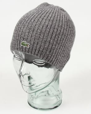 Lacoste Ribbed Wool Beanie Light Grey