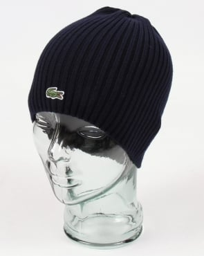 Lacoste Ribbed Wool Beanie Navy