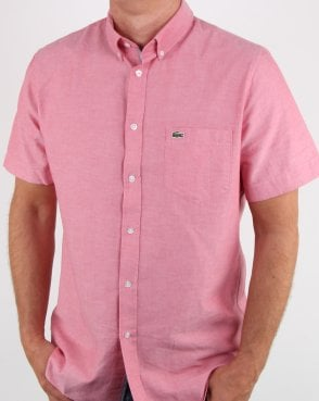 Lacoste Short Sleeve Oxford Shirt Fresh Pink