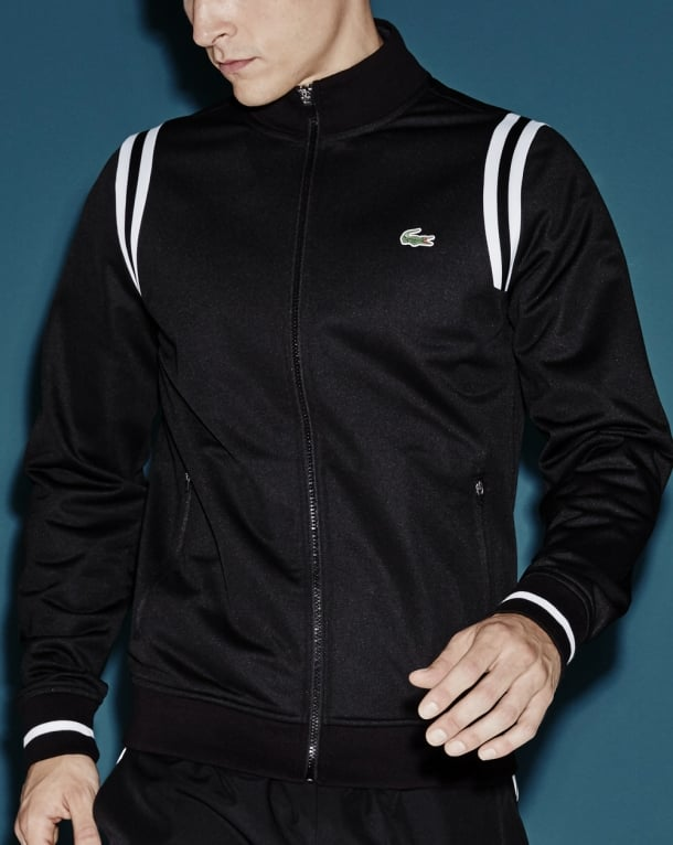 Lacoste Sport Shoulder Stripe Track Top Black White
