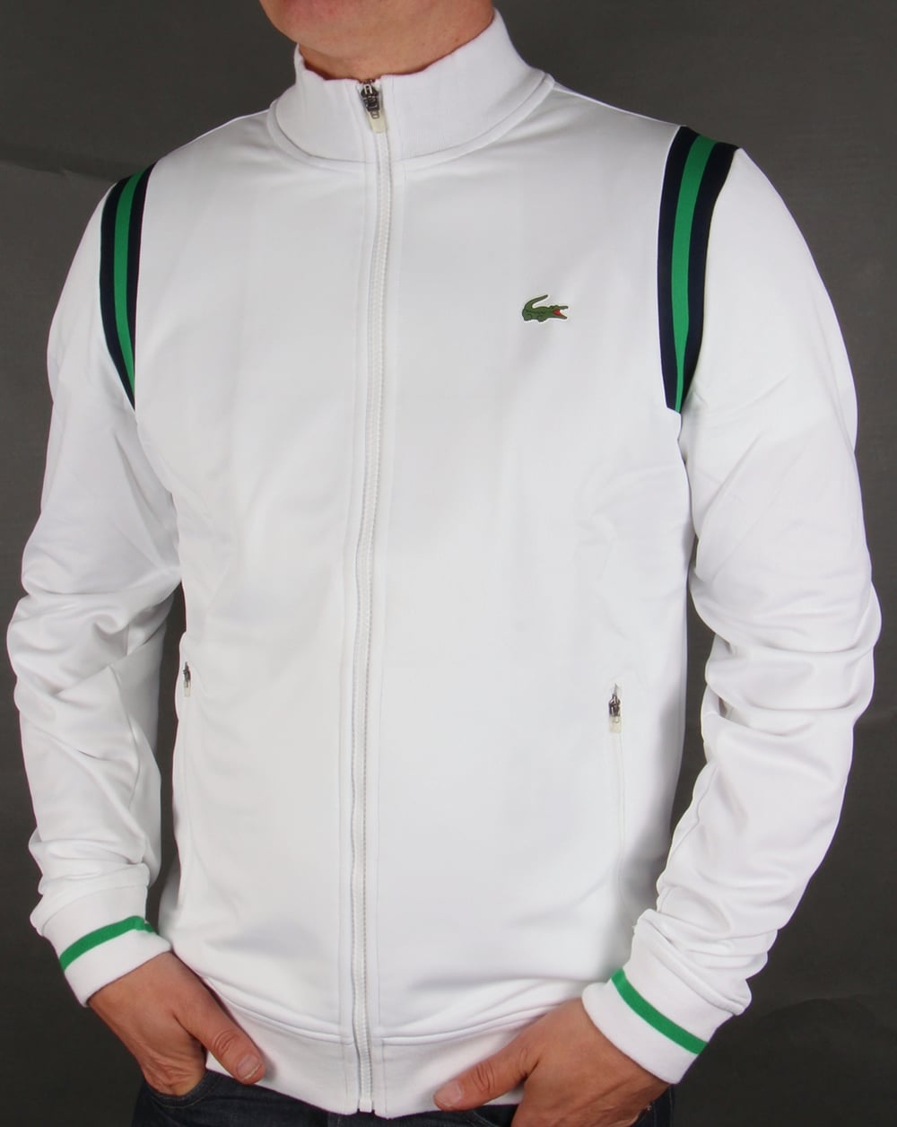 Lacoste Sport Shoulder Stripe Track Top White Green Navy