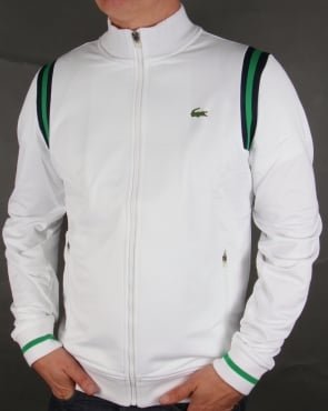 Lacoste Shoulder Stripe Track Top White/Green/Navy