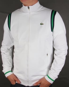 Lacoste Shoulder Stripe Track Top White/Green/Navy
