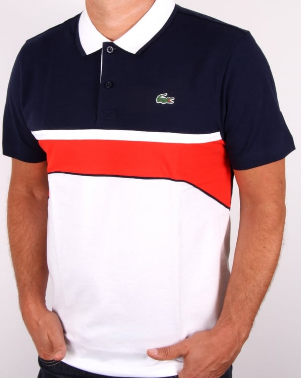 Lacoste Sport Jacquard Collar Polo Shirt White/navy/red