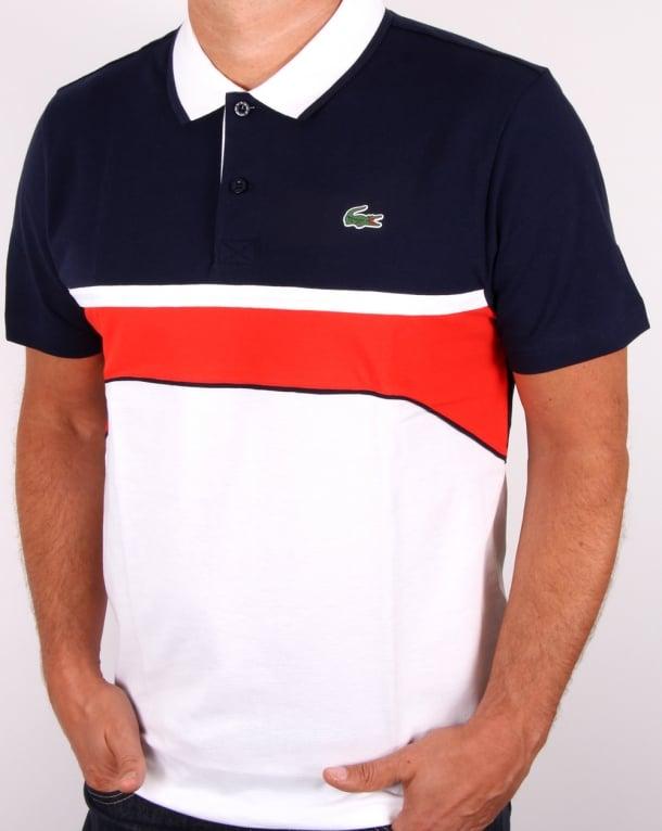 Lacoste Sport Jacquard Collar Polo Shirt White navy red, Men s b850bb1e2b4