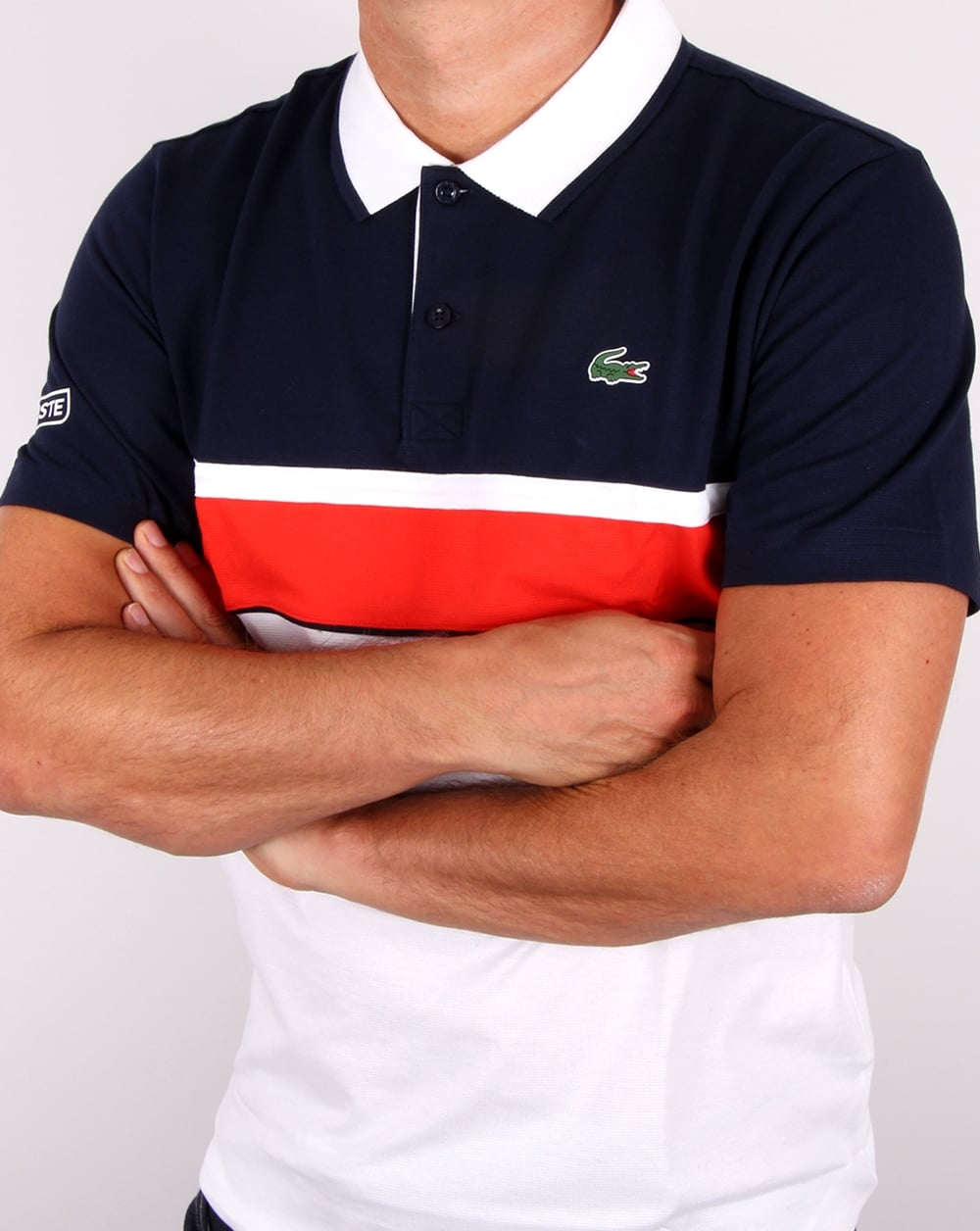 lacoste sport jacquard collar polo shirt white navy red men 39 s. Black Bedroom Furniture Sets. Home Design Ideas
