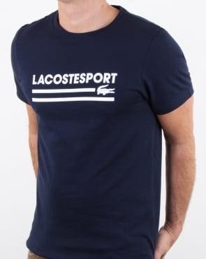 Lacoste Sport Logo T Shirt Navy/white
