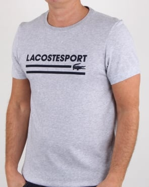 Lacoste Sport Logo T Shirt Silver Chine/navy