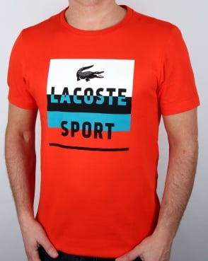 Lacoste Sport Print T Shirt Etna Red/white