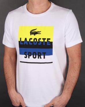 Lacoste Sport Print T Shirt White/lemon
