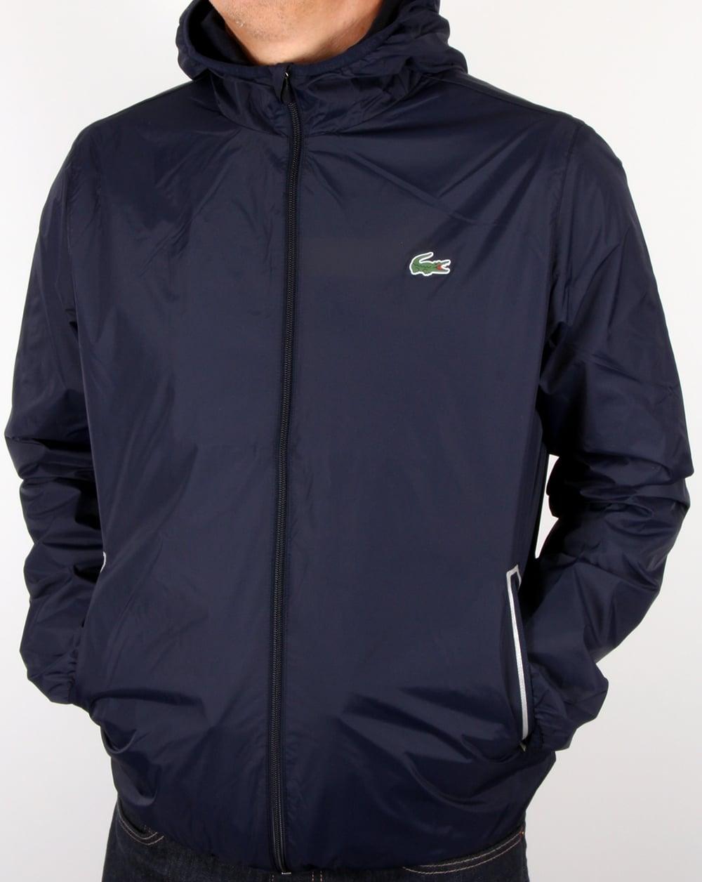 lacoste sport taffeta hooded jacket navy men 39 s. Black Bedroom Furniture Sets. Home Design Ideas
