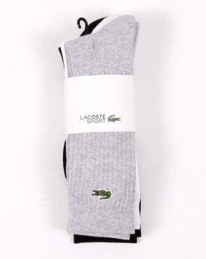 Lacoste Sport Tennis Socks 3 Pack White/grey/black