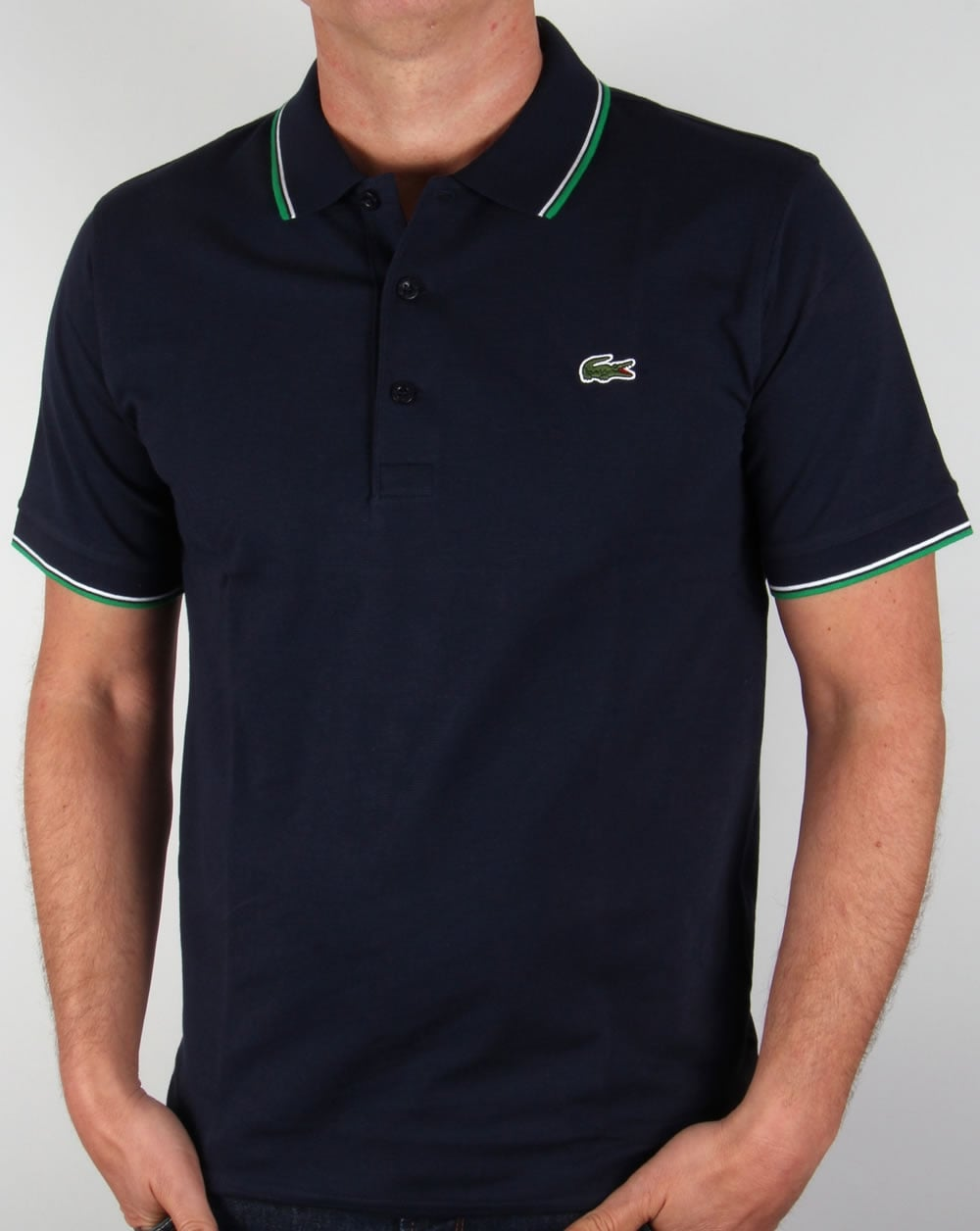 lacoste tipped polo shirt navy green sport mens. Black Bedroom Furniture Sets. Home Design Ideas