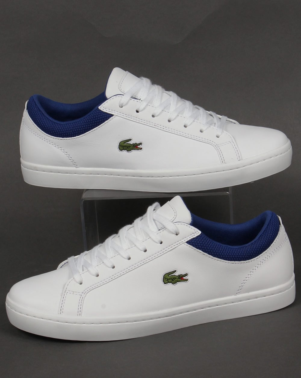 2a632f71ea496a Lacoste Lacoste Straightset Leather Trainers White Blue