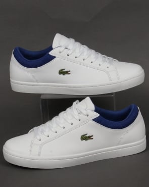 Lacoste Footwear Lacoste Straightset Leather Trainers White/Blue