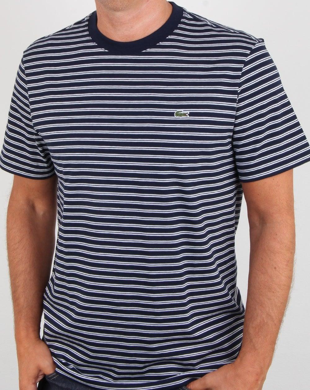 2018 buty najlepsze podejście dobra obsługa Lacoste Stripe T-shirt Navy/White