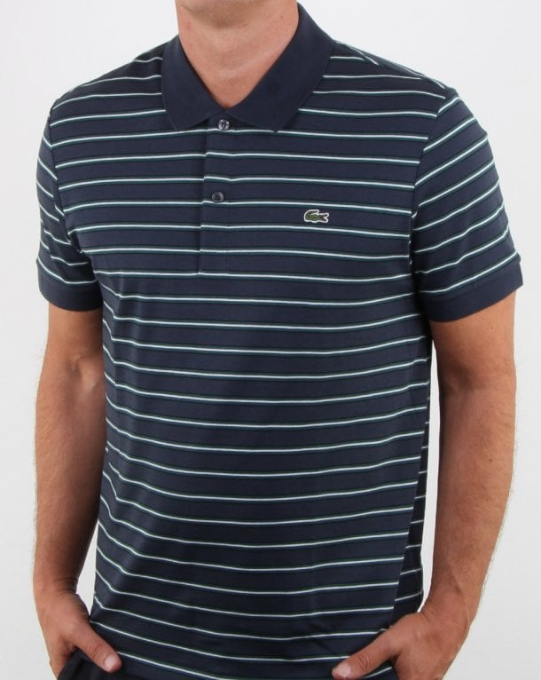 Lacoste Striped Polo Shirt Meridian Blue