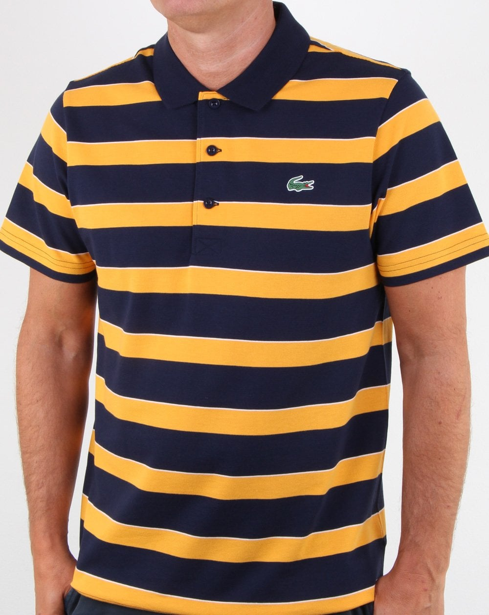 62bd06d79a218 Lacoste Lacoste Striped Polo Shirt Navy Yellow