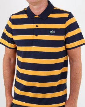 Lacoste Striped Polo Shirt Navy/Yellow