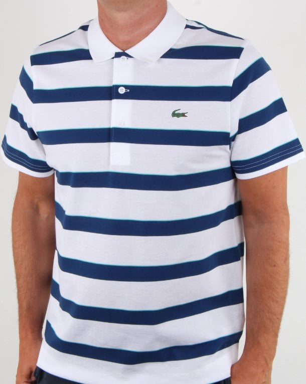 b9b06a8ea128a Lacoste Lacoste Striped Polo Shirt White Blue