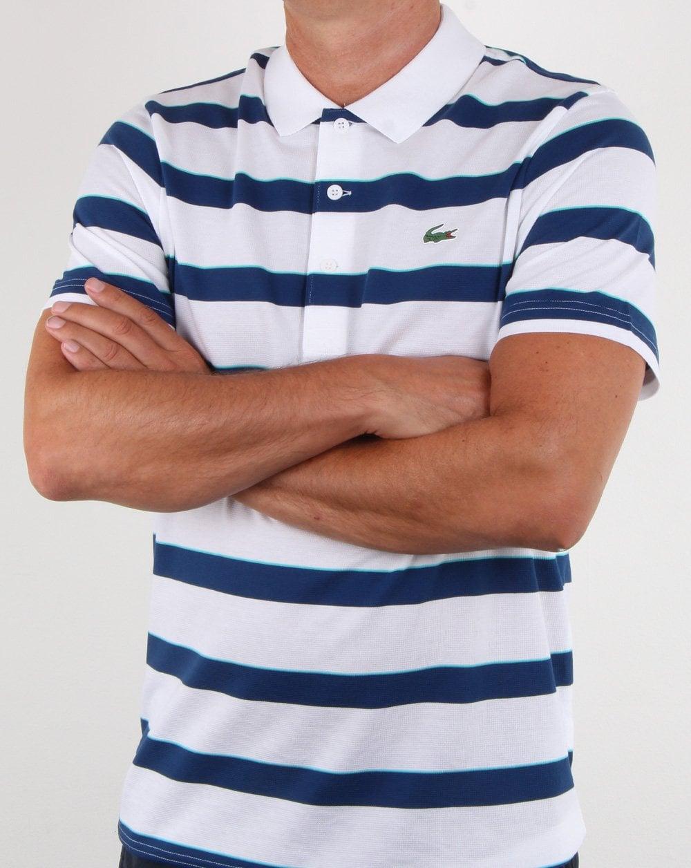 Lacoste Striped Polo Shirt White/Blue, Mems, Polo, Cotton ...