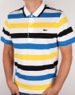 Lacoste Striped Polo Shirt White/Navy/yellow