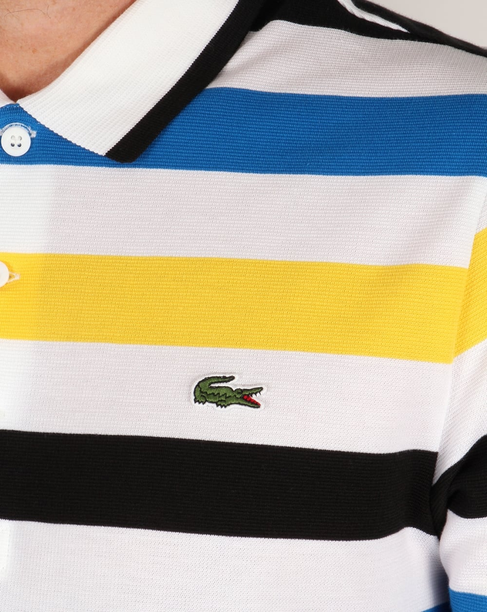 lacoste triped polo shirt whitenavyyellow mens
