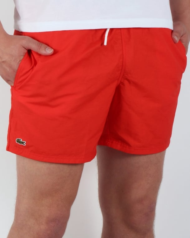 Lacoste Swim Shorts Red Sport Beach Swimmers Mens