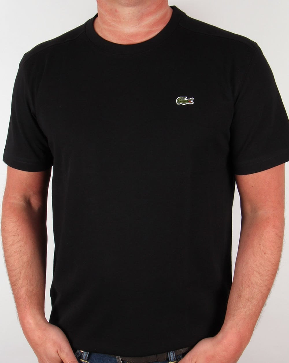 lacoste t shirt black tee crew neck sport mens. Black Bedroom Furniture Sets. Home Design Ideas