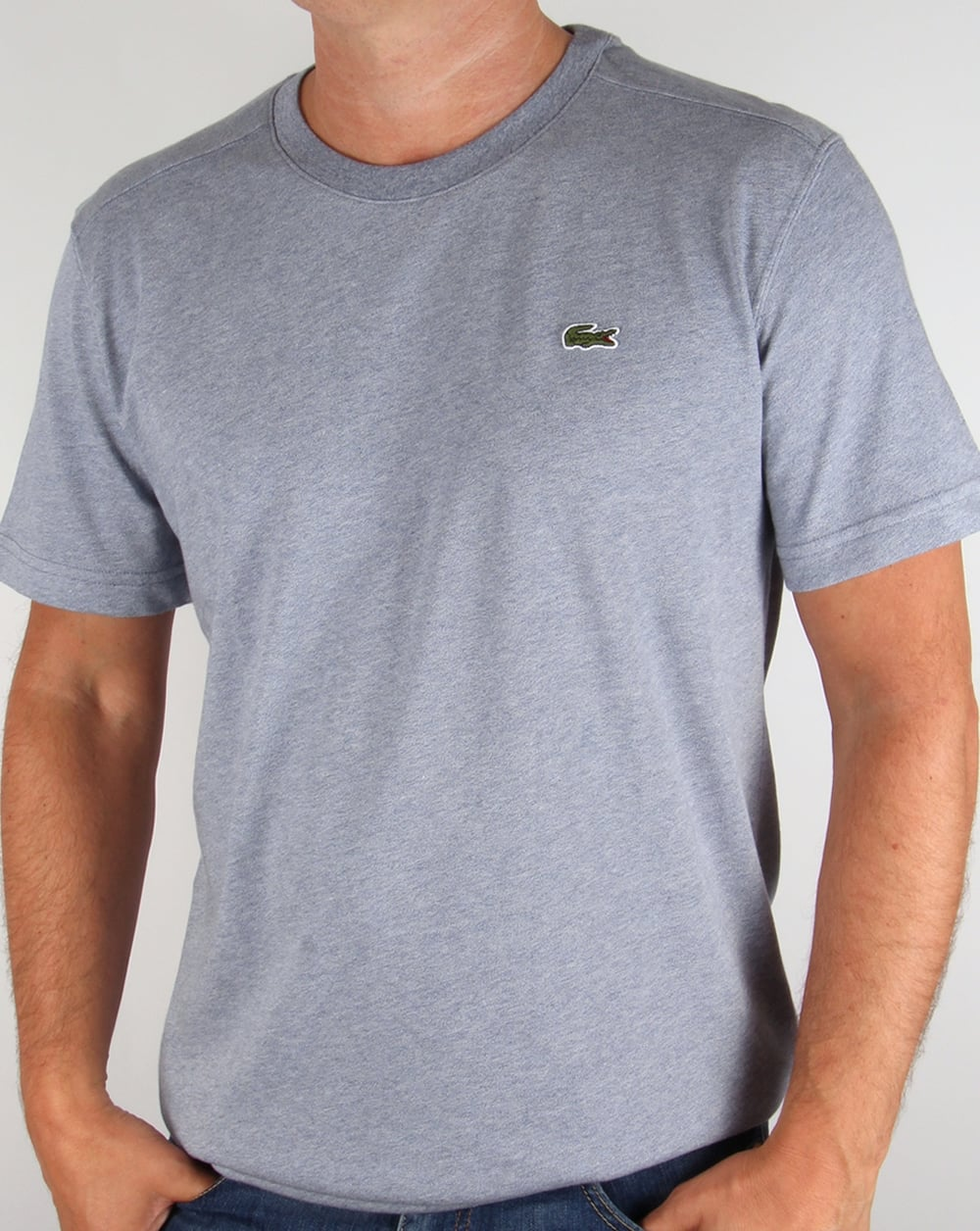 lacoste t shirt blue marl tee crew neck sport mens. Black Bedroom Furniture Sets. Home Design Ideas