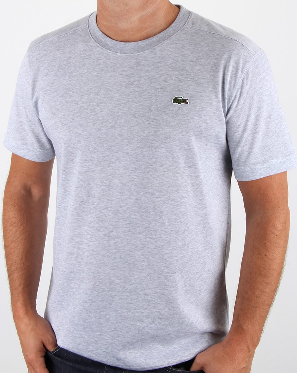 lacoste t shirt silver chine crew neck tee cotton men 39 s. Black Bedroom Furniture Sets. Home Design Ideas