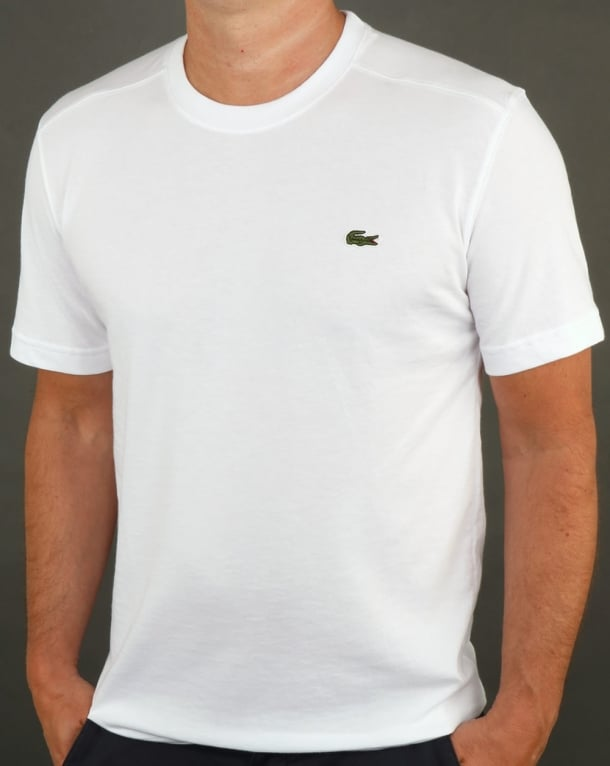 Lacoste T Shirt White Tee Crew Neck Sport Mens