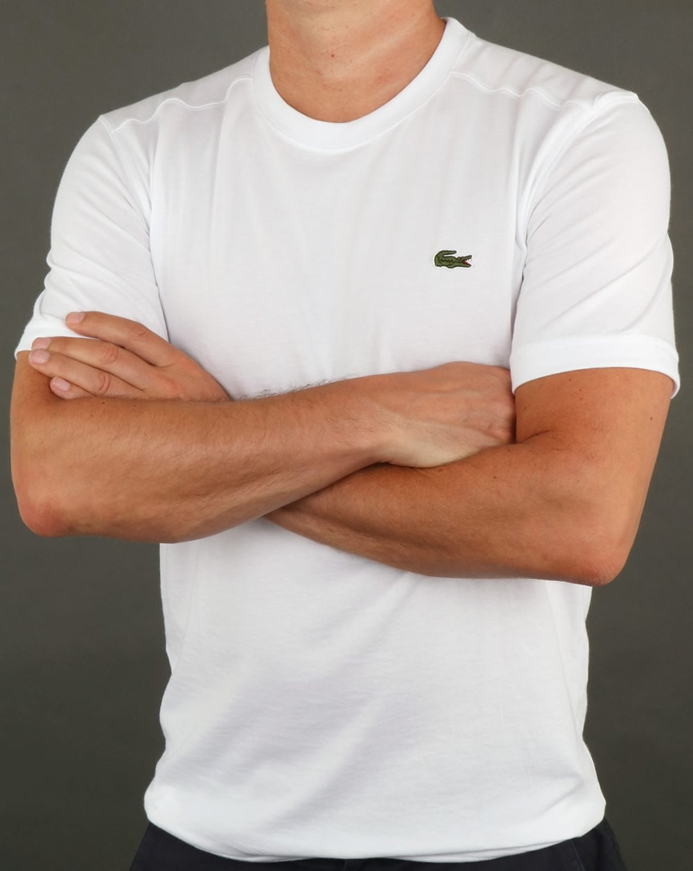 Lacoste t shirt white tee crew neck sport mens for Crew neck white t shirt