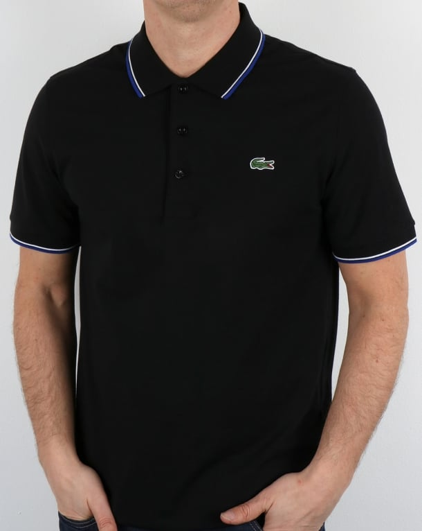 Lacoste Tipped Polo Shirt Black/French Blue