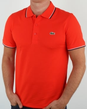 Lacoste Tipped Polo Shirt Etna Red/navy