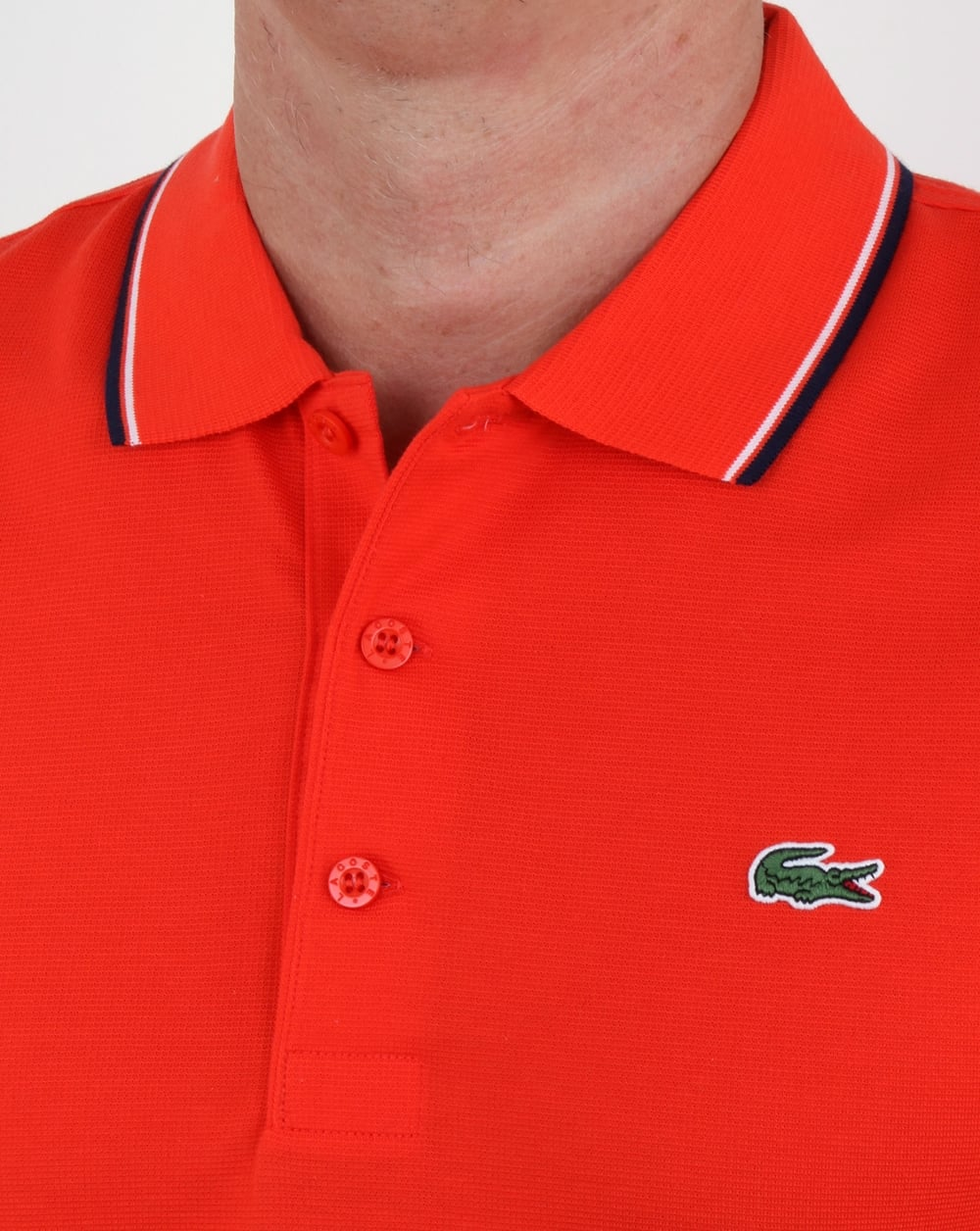 Lacoste Tipped Polo Shirt Etna Rednavy Mens Top