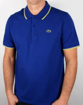 Lacoste Tipped Polo Shirt French Blue/lemon