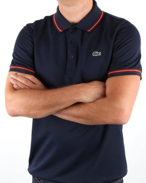 Lacoste Tipped Polo Shirt Navy/Mexico Red