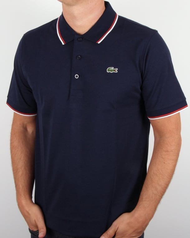 Lacoste Tipped Polo Shirt Navy/Red