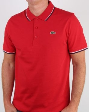 Lacoste Tipped Polo Shirt Red/navy